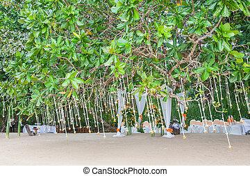 ceremoni, blommig, bröllop, strand, ordning