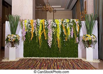 ceremoni, blomningen, dekorera, bakgrund, bröllop