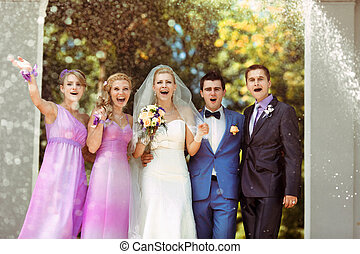 ceremoni, lycklig, ögonblick, efter, bröllop