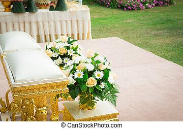 ceremoni, vacker, trädgård, bröllop