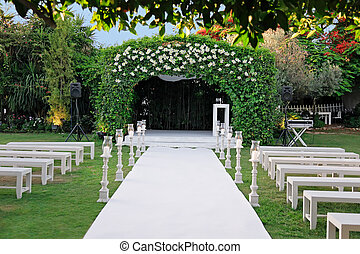 ceremonia, (chuppah, na wolnym powietrzu, ślub, huppah), baldachim, albo