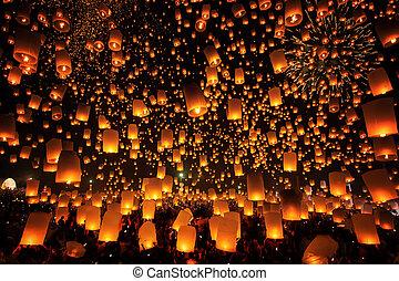 ceremonia, dónde, lámpara, tudongkasatarn, flotar