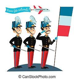 ceremonia, desfile, ejército, nacional, ilustración, francés...