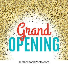 ceremonia, dorado, apertura, partículas, fondo., magnífico, ...