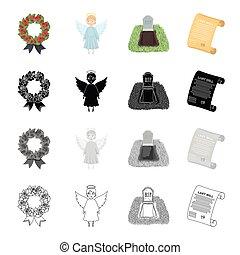 ceremonia, estilo, conjunto, deceased., iconos, cementerio, símbolo, contorno, web., colección, caricatura, testamento, ángel, negro, ilustración, guirnalda, monocromo, vector, funeral, tumba, acción