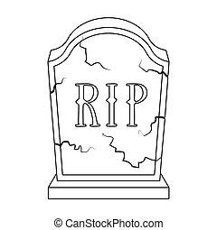 ceremonia, estilo, illustration., icono, funeral, aislado, ...