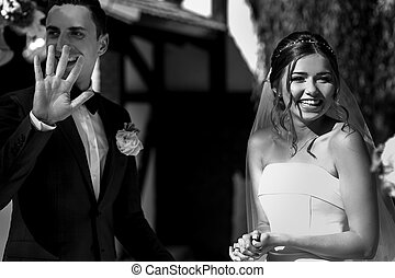 ceremonia, foto, blanco, negro, boda