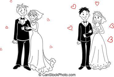 ceremonia, garabato, pareja, boda