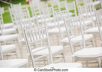 ceremonia, interminable, prior, boda, sillas, blanco