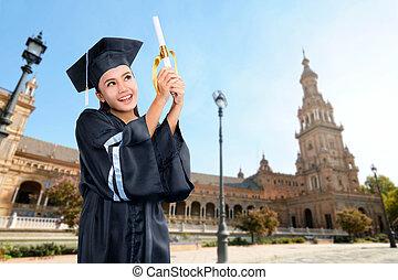 ceremonia, kobieta, dyplom, skala, asian, dzierżawa, woluta, szczęśliwy