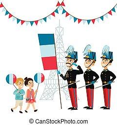ceremonia, niño, niños, desfile, ejército, bastille, ...