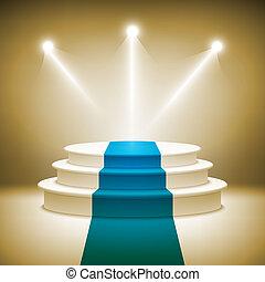 ceremonia, oświetlany, nagroda, podium, wektor, rusztowanie