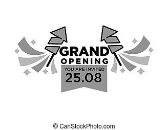 ceremonia, otwarcie, wielki, odizolowany, ilustracja, zaproszenie, monochromia
