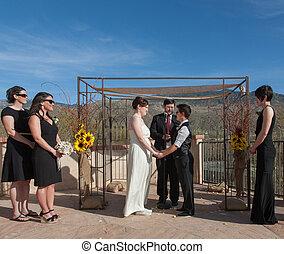 ceremonia, pareja, alegre, cometido