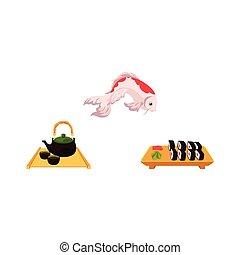 ceremonia, plano, carpa, conjunto, té, sushi, vector, coi