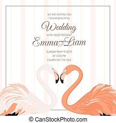 ceremonia, serce, flaming, para, poślubne zaproszenie