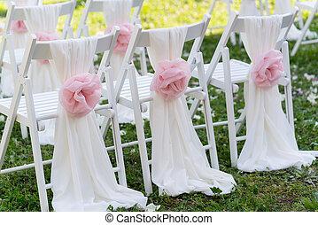 ceremonia, sillas, boda blanca