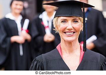 ceremonia, studenci, uniwersytet, skala, średni niemłody, profesor