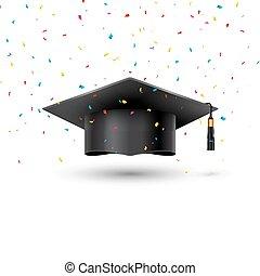 ceremonia, szkoła, powodzenie, filiżanka, uniwersytet, skala, tło., akademicki, student, confetti, biały, wykształcenie, kapelusz, osiągnięcie