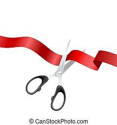 ceremonia, tło, klasyk, closeup, otwarcie, metal, odizolowany, realistyczny, tło., cięcie, projektować, czerwony, szablon, wielki, nożyce, biały, chorągiew, srebro, wstążka