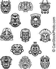 ceremonia, tribal, ritual, máscaras, africano