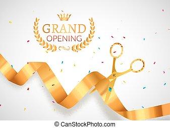 ceremonia, złoty, cięty, otwarcie, afisz, banner., wstążka, zaproszenie, event., wielki, karta, celebrowanie
