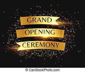 ceremonia, złoty, otwarcie, zaproszenie, tło, wielki