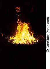 ceremonial, fuego, círculo, por la noche