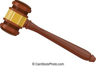 ceremonial, martillo, de madera, juez