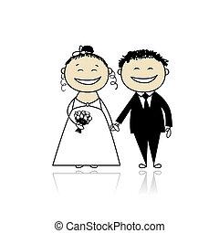 ceremonie, bruidegom, -, samen, bruid, ontwerp, trouwfeest,...