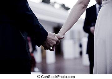 ceremonie, handen, bruidegom, bruid, vasthouden, trouwfeest
