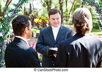 ceremonie, huwelijk, vrolijk