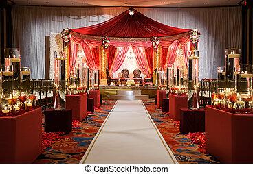 ceremonie, indiër, mandap, trouwfeest