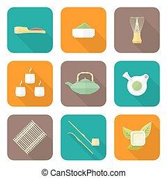 ceremonie, plat, set, gekleurde, iconen, thee, verzameling, uitrusting, vector, ontwerp, japan, gereedschap