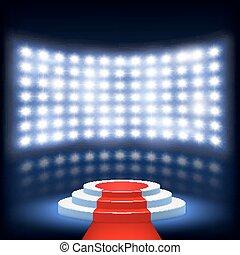 ceremonie, podium, verlicht, rood tapijt
