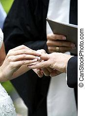 ceremonie, ring, trouwfeest, verwisselen