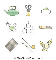 ceremonie, set, gekleurde, iconen, thee, verzameling, uitrusting, vector, achtergrond, japan, witte , gereedschap, schets