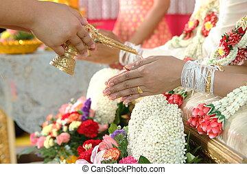 ceremonie, thai, engagement., trouwfeest