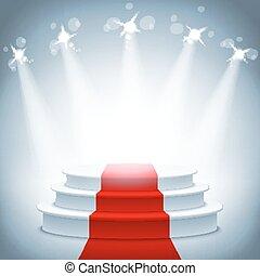 ceremonie, verlicht, illustratie, podium, vector, toewijzen, tapijt, rood, toneel