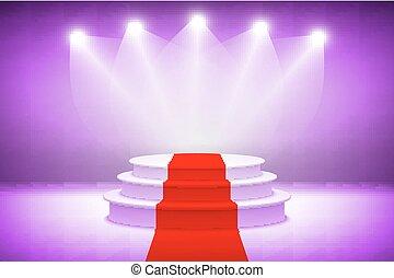 ceremonie, verlicht, paarse , licht, toewijzen, podium, vector, toneel, illustratie, achtergrond, 3d, rood tapijt