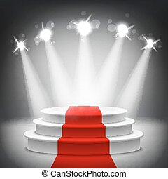 ceremonie, verlicht, toewijzen, podium, vector, tapijt, rood, toneel