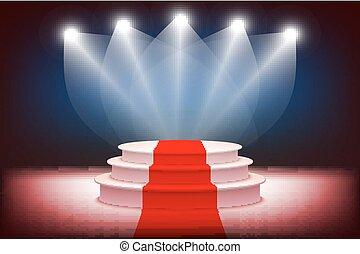 ceremonie, verlicht, toewijzen, podium, vector, toneel, illustratie, 3d, rood tapijt