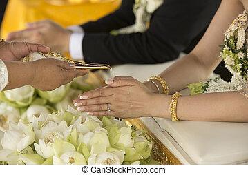 ceremonie, verplichting, thai, trouwfeest