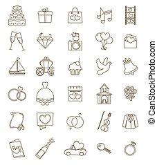 ceremonie, verstelbaar, schets, iconen, accesories, set., verplichting, symbols., vector, huwelijk, mager, trouwfeest, voorwerpen, lijn, stroke.