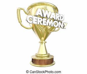 ceremonie, wedstrijdbeker, tonen, illustratie, appreciatie, kennen ligging toe, 3d