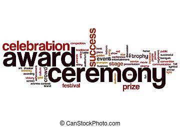 ceremonie, woord, toewijzen, wolk