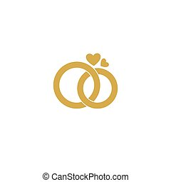ceremony., 信頼, シンボル, logo., 結婚式, 愛, ベクトル, 相互, 装飾, 定型, rings., 理解, wedding., strength., attributes, 交渉, 金, ロゴ, 幸福, 心配