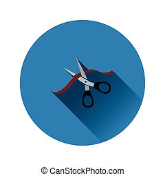 Ceremony ribbon cut icon on gray background, round shadow....