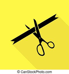 Ceremony ribbon cut sign. Black icon with flat style shadow path on yellow background.