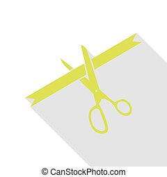 Ceremony ribbon cut sign. Pear icon with flat style shadow path.
